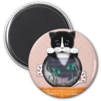 Cat and Fishbowl Magnet