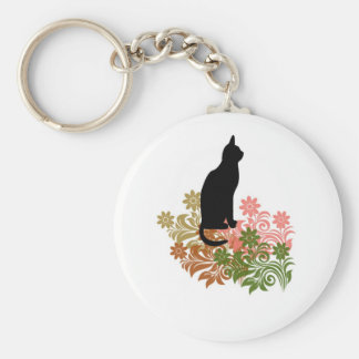 Cat and flower basic round button key ring