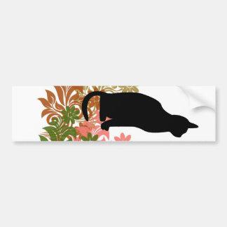 Cat and flower bumper sticker