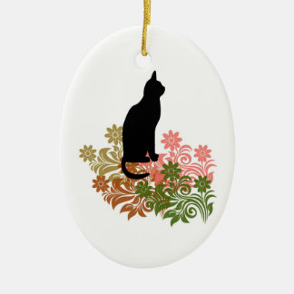 Cat and flower ceramic oval decoration