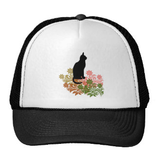 Cat and flower trucker hat