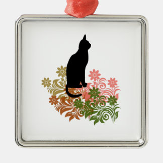 Cat and flower Silver-Colored square decoration