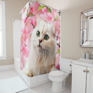 Cat and Flowers Shower Curtain
