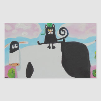 cat and frog on a cow painting Gordon Bruce art Rectangular Sticker