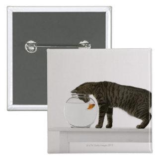 Cat and goldfish 15 cm square badge