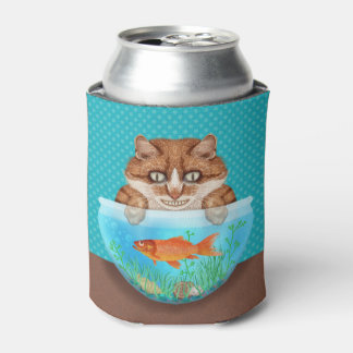 Cat and Goldfish Bowl Funny Hungry Grinning Kitty Can Cooler