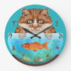 Cat and Goldfish Bowl Funny Hungry Grinning Kitty Large Clock