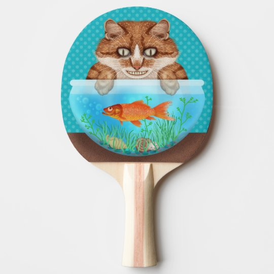Cat and Goldfish Bowl Funny Hungry Grinning Kitty