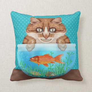 Cat and Goldfish Bowl Funny Hungry Grinning Kitty Throw Pillow