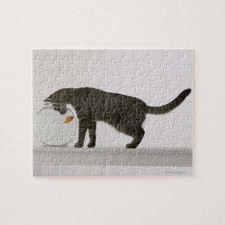 Cat and goldfish jigsaw puzzle