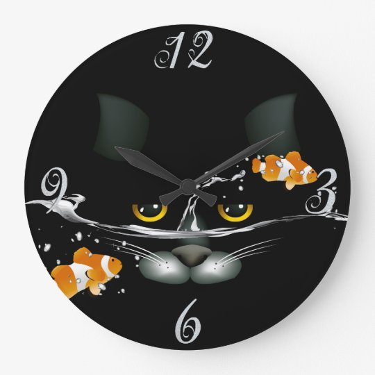 Cat and Goldfish Wall Clock