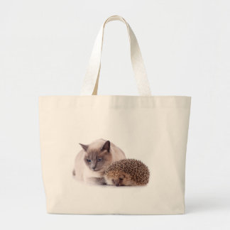 cat and hedgehog tote bags