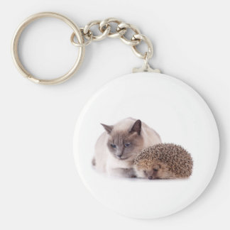 cat and hedgehog key ring