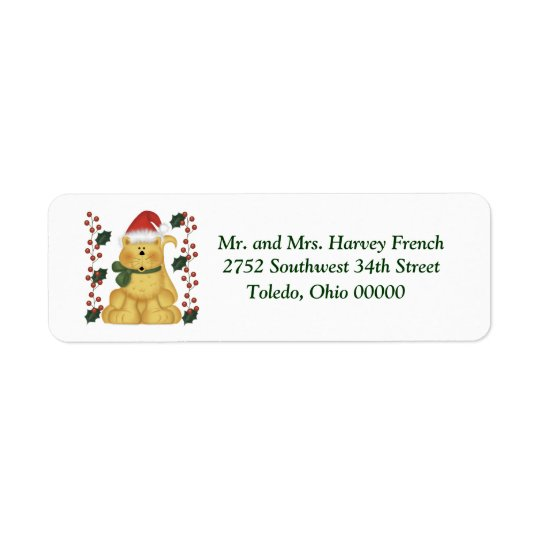 Cat And Holly Christmas Labels