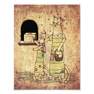 Cat and Kitten Illustration Photo