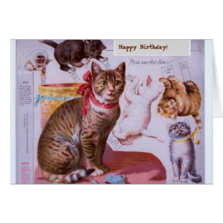 Cat and Kittens Paper Cut Outs Greeting Card
