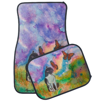 Cat and Monarchs (Set of 4) Car Mats