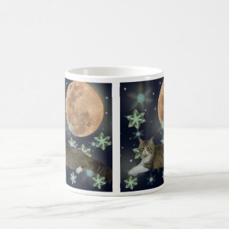 Cat and Moon Design Basic White Mug