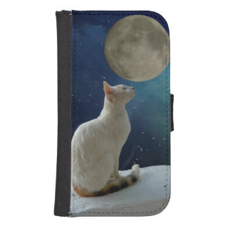 Cat and Moon Samsung S4 Wallet Case