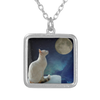 Cat and Moon Silver Plated Necklace