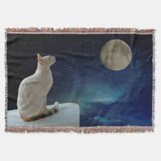 Cat and Moon Throw Blanket