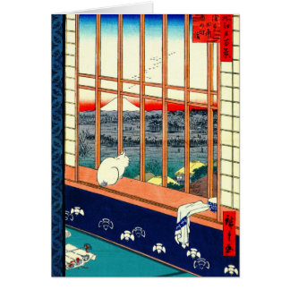 Cat and Mount Fuji 1857 Greeting Card