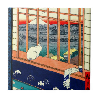 Cat and Mount Fuji 1857 Small Square Tile