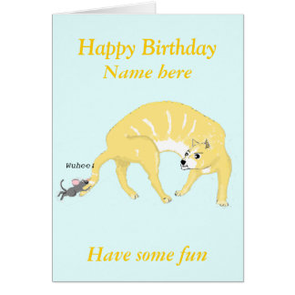 Cat and Mouse cartoon add name front, Birthday Greeting Card