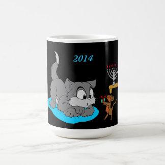 Cat and Mouse Celebrating Hanukkah - Basic White Mug