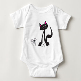 Cat and Mouse Design Baby Bodysuit
