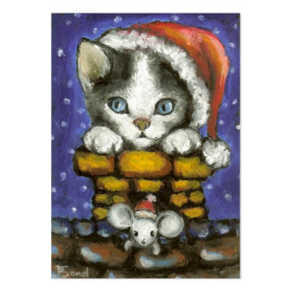 Cat and mouse in Santa's hats Business Card