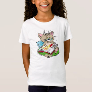 Cat and mouse reading a book together T-Shirt