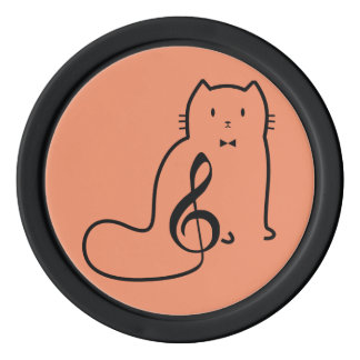 CAT AND MUSIC NOTE POKER CHIPS
