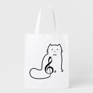 CAT AND MUSIC NOTE REUSABLE GROCERY BAG