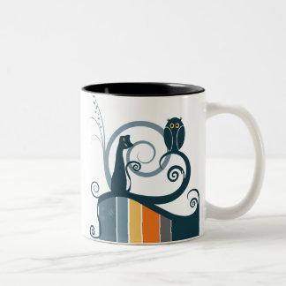 Cat and Owl Original Design Coffee Mug
