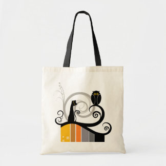 Cat and Owl Budget Tote Bag