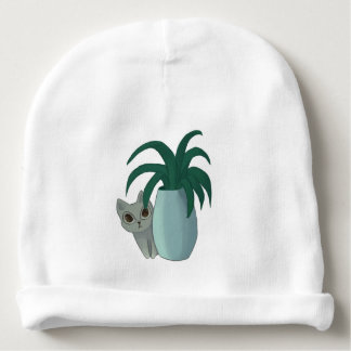 Cat and Plant Baby Beanie
