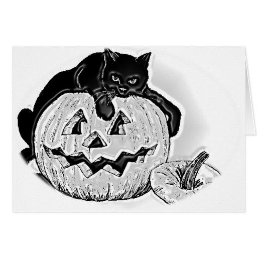 Cat and Pumpkin Halloween Card