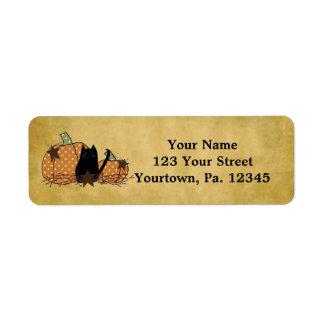 Cat And Pumpkins Address Labels