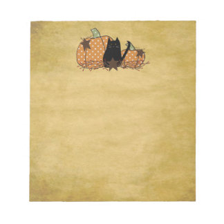 Cat And Pumpkins Notepad