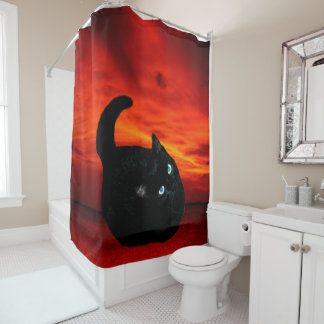 Cat and Red Sky Shower Curtain