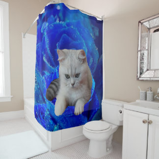 Cat and Rose Shower Curtain