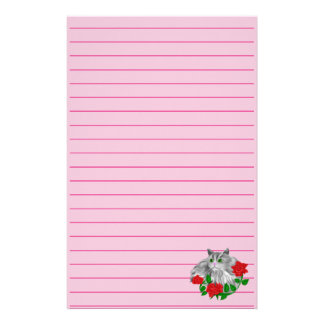 Cat and Roses Stationery