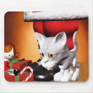 Cat and Santa Christmas mousepad 2