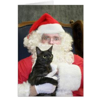 Cat and Santa Claus Greeting Card