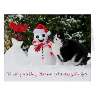 Cat and Santa Snowman Christmas Big Greeting Card