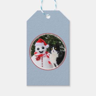 Cat and Santa Snowman Christmas Gift Tags