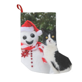 Cat and Santa Snowman Christmas mantle Small Christmas Stocking