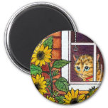cat and sunflower 6 cm round magnet