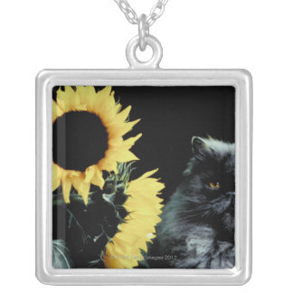 Cat and Sunflower Silver Plated Necklace